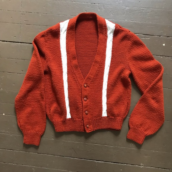 Vintage Other - Vintage 70s rust knit cardigan with stripes